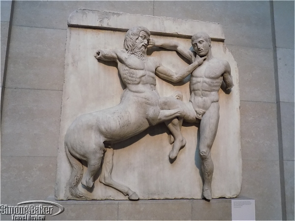 A Centaur and Lapith wrestle in a relief from the Parthenon